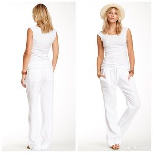 James Perse Linen Surplus White Drawstring Pants